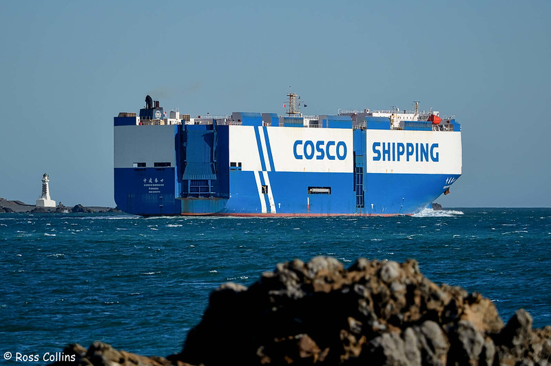 'COSCO Shengshi' departing from Wellington, 23 October 2020