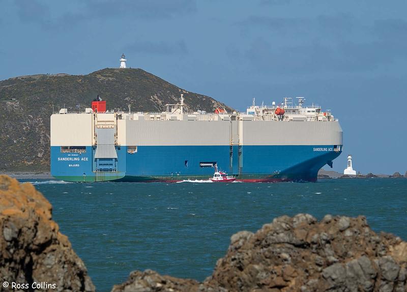 'Sanderling Ace' departing from Wellington, 19 September 2020