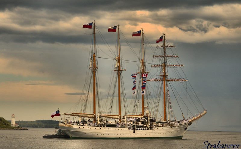 Four-masted barquentine Esmeralda of Chilean Navy<br /> Halifax, NS, Canada 06/29/2017<br /> The four flags on each side of the mast are CCES, the ship's call-sign.<br /> This work is licensed under a Creative Commons Attribution-<br /> NonCommercial 4.0 International License