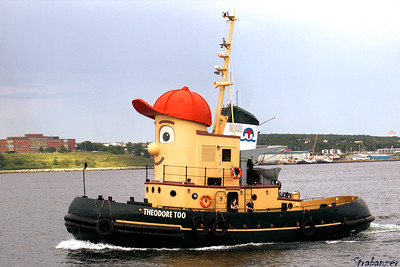 The immitation tug, Theodore Too, based on the model tug  used in the TV series Theodore Tugboat. Halifax Harbor, NS, Canada 06/29/2017 This work is licensed under a Creative Commons Attribution- NonCommercial 4.0 International License