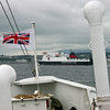 IOM Steam Packet ferry Ben_My_Chree arriving into Douglas seen over bow of Balmoral