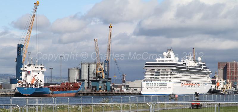 coaster Angela; cruise ship Marina; bulker Skawa