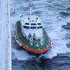 Kirkwall Pilot boat John Rae alongside Boudicca as she departed Kirkwall