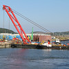 Work boats, barges and cement tankers for new Forth road bridge construction works - tug Hemiksem alongside crane barge Sarah.S