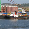 Work boats, barges and cement tankers for new Forth road bridge construction works - tug Hemiksem alongside crane barge Sarah.S