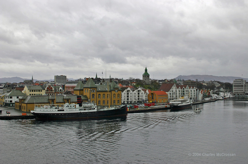 Stavanger harbour area with Rogaland and unidentified vessel