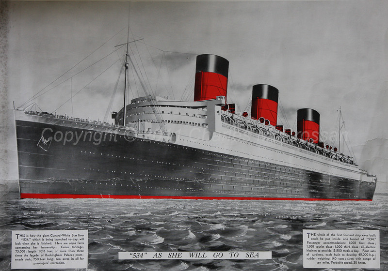Large poster copy of No 534 produced on launch day when she was named Queen Mary