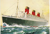Postcard I bought showing the Queen Mary in her heyday as a passenger liner crossing the Atlantic.