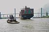 Tugboat and Israeli cargo ship on Savannah River. Savannah, Ga. 2005.