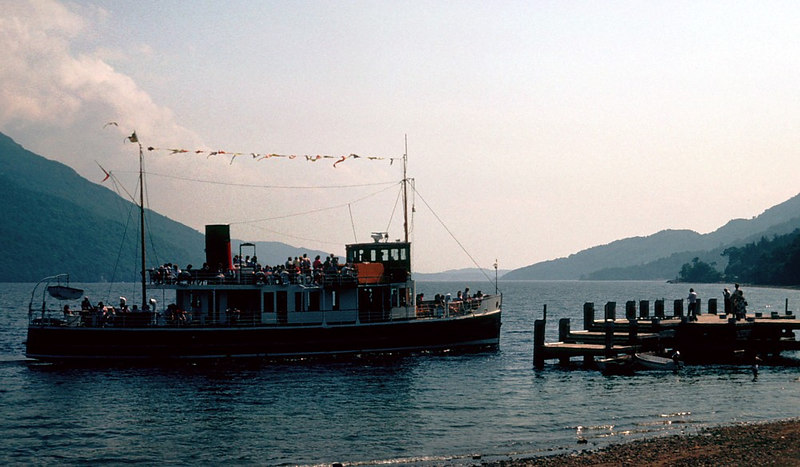 Countess Fiona arriving at the new 'low deck' Tarbet pier, built after the withdrawal of Maid of the Loch.