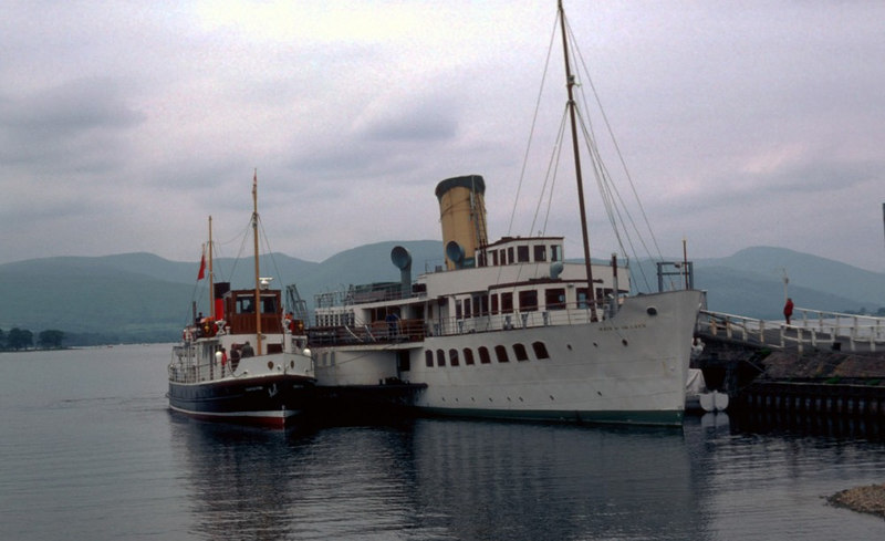 Throughout her sailing years on Loch Lomond Countess Fiona berthed alongside the Maid and passengers passed over the paddler's deck to access the little  motor vessel.