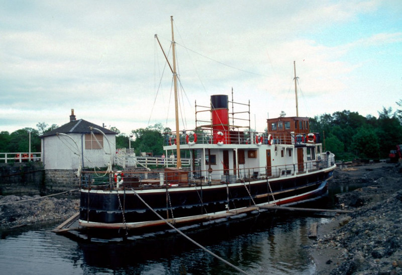 Countess of Fiona undergoing refit at Balloch; at this stage new belting was being fitted to her hull