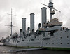 Aurora, St Petersburg, 26 September 2004 2.  Aurora has a main armament of 14 152mm (6 inch) guns and displaces 6,600 tons.