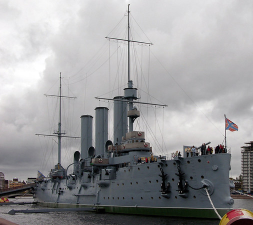 Aurora, St Petersburg, 26 September 2004 1.  The Russian cruiser was built at St Petersburg and commissioned in 1903.  In 1905 she fought in  the Russo - Japanese war at the battle of Tsushima, where the Russian fleet was annihilated.  Aurora escaped to Manila, from where she returned to Russia.  She owes her survival to her role in the October 1917 Russian Revolution.  A shot from the gun on her fo'c'sle signalled the Bolshevik assault on St Petersburg's Winter Palace, the start of Lenin's coup d'etat against the interim government which had ruled Russia since Tsar Nicholas II had abdicated the previous February.