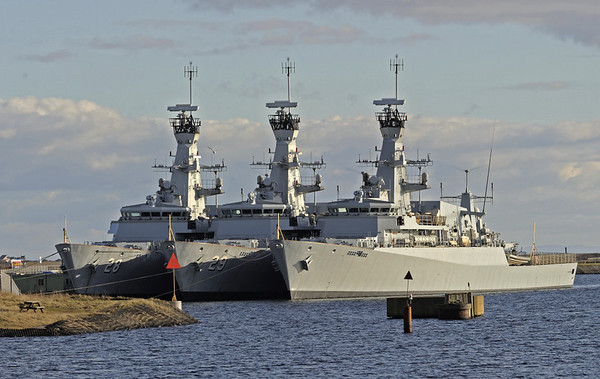 Nakhoda Ragam class corvettes, Barrow-in-Furness, 2 February 2013 1.   Offshore patrol vessels built by BAe Systems at Scoutstoun for the Royal Brunei Navy who decided not to accept them despite, after a dispute, having paid £600 million for them.  They have been laid up for sale at Barrow since 2007.  In 2012 it was reported that Indonesia would acquire them for a fraction of their original cost - NB that the ship at right has had its Brunei pennant number (30) removed.  They are equipped with Exocet and Sea Wolf missiles and a 76mm gun, which has been removed.