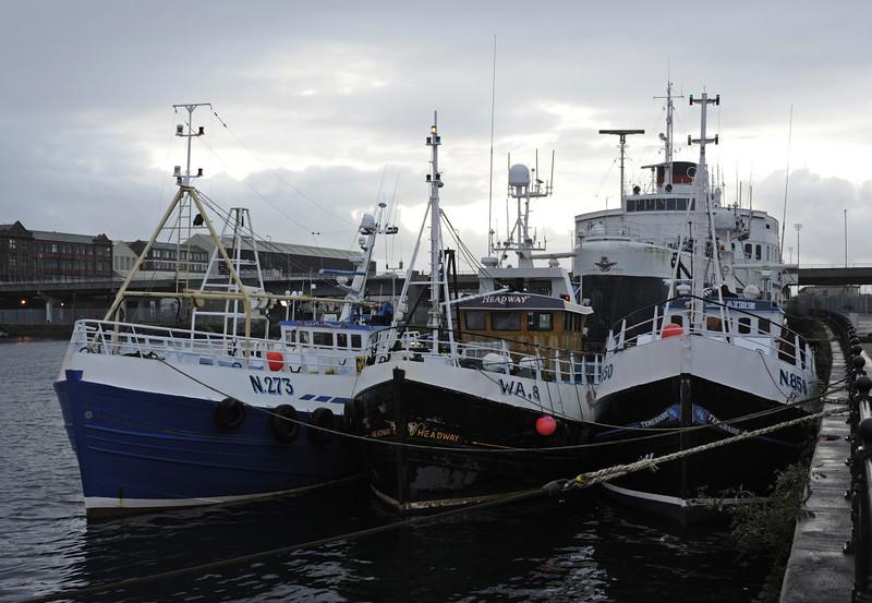 Ocean Harvester (Kilkeel, left), Headway (Whitehaven) & Temeraire (Kilkeel), Barrow-in-Furness, Mon 16 September 2013