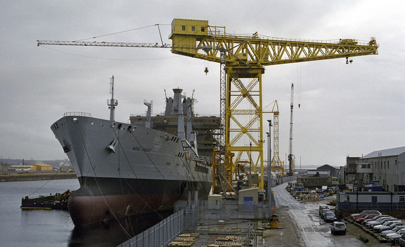 RFA Wave Knight, Barrow, Fri 9 March 2001 1.  The Royal Fleet Auxiliary fast fleet tanker is seen fitting out in Buccleuch Dock.  A sister, Wave Ruler, was also built at Barrow by BAe Systems.
