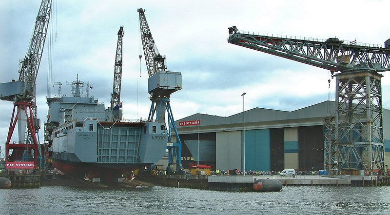 Mounts Bay launch day, 9th April 2004<br /> <br /> General view of the Govan shipyard prior to the launch