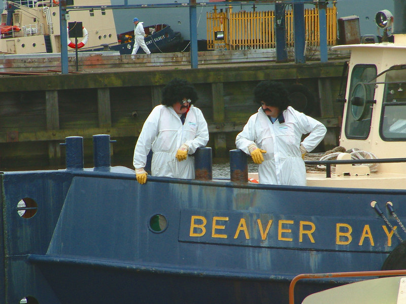 Mounts Bay launch day, 9th April 2004 <br /> <br /> Two furtive-looking characters on Clyde Marine's tug Beaver Bay!