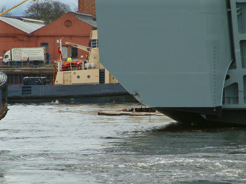 Mounts Bay launch day, 9th April 2004 <br /> <br /> Slight plating damage sustained by Mounts Bay when she touched Merklands Quay during the launch - her first visit to the north side of the river!