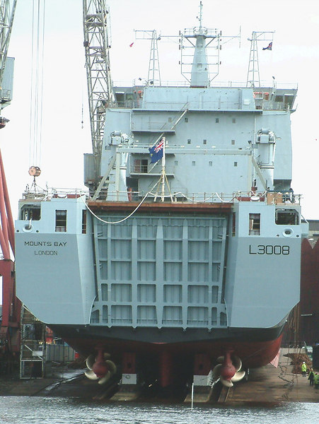 Mounts Bay launch day, 9th April 2004<br /> <br /> With the Royal Fleet Auxiliary flag at her stern