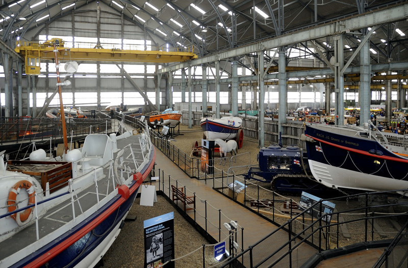 Royal National Lifeboat Institution historic collection, Chatham dockyard, Sat 9 June 2012.  The covered slips now proivde invaluable storage space for large objects, and are home to the RNLI historic lifeboats.