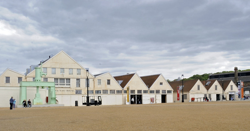 Mast house with mould loft above (left, 1750s) and wheelwrights' shop (c1780), Chatham dockyard, Sat 9 June 2012.