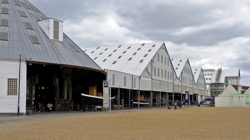 Covered slips, Chatham dockyard, Sat 9 June 2012.  No 3 slip (left) was built in 1838, Nos 4-6 in 1848 and No 7 (in the distance at right) in 1855.  HMS Ocelot was built on No 7 slip, and launched in 1962.