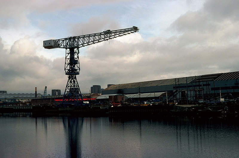 A single remaining cantilever crane at the fitting out berth of the former Charles Connell shipyard in Scotstoun. Connell's was absorbed into Upper Clyde Shipbuilders in the late 1960s and survived the debacle of the UCS collapse to emerge as Scotstoun Marine Ltd, a subsidiary of the newly formed Govan Shipbuilders (based at the former Fairfields). <br /> <br /> Beyond are the works on the east side of Balmoral Street where Mechans Ltd manufatured ship's lifeboats and bridge/engineroom/docking telegraphs.