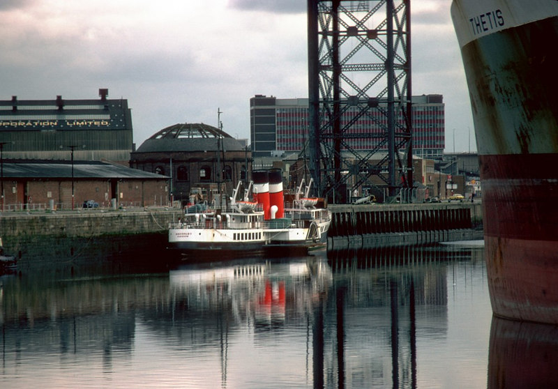 Waverley in hibernation at Glasgow in the winter of 1982-83, with the large Greek tanker Thetis as a lay-up companion.