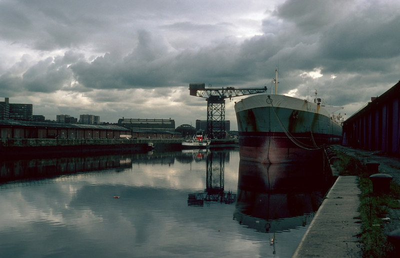 Waverley in hibernation at Glasgow in the winter of 1982-83, with the large Greek tanker Thetis as a lay-up companion