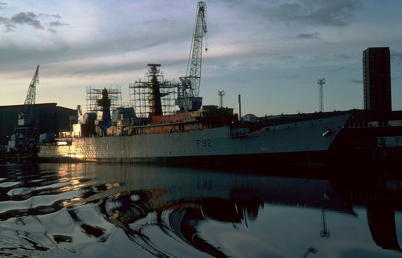 HMS Boxer at Scotstoun at dusk