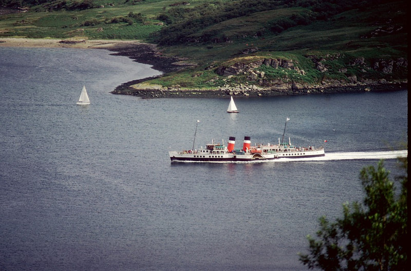 Waverley passing the splendidly named Buttock Point on the Isle of Bute as she heads for 'the Narrows'
