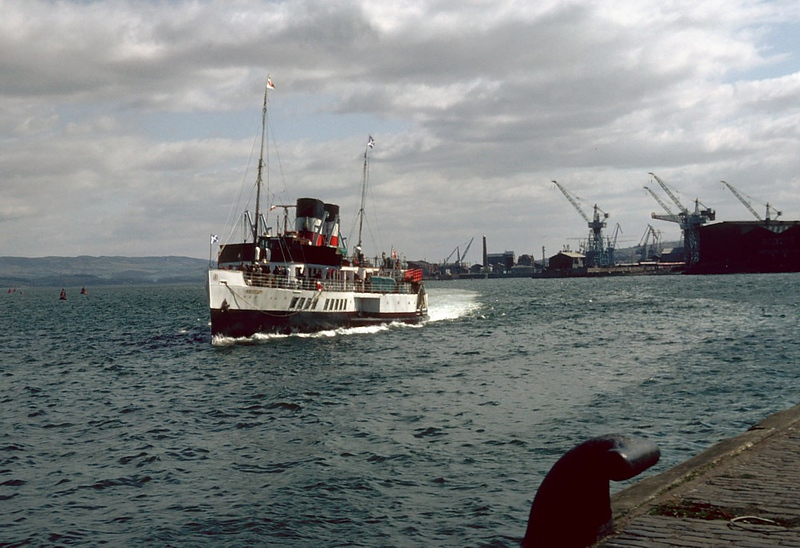 When Waverley approached Greenock Customhouse Quay in 1982 the shops and cranes of the Cartsdyke shipyard, the former Greenock Dockyard, still formed the background. Within a very short period thereafter, all of that was swept away.