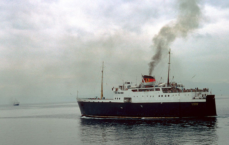 Clansman departing from Ardrossan as the Gourock-Dunoon ferry Jupiter approaches from Brodick to carry out berthing trials for service from the Ayrshire port.