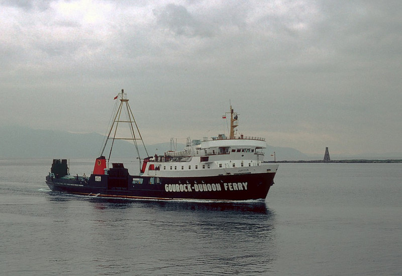 Jupiter, in unfamiliar waters, passes Horse Island on her first approach to Ardrossan. Despite the legend painted on her hull, she was, indeed, sailing on the Ardrossan - Brodick route.