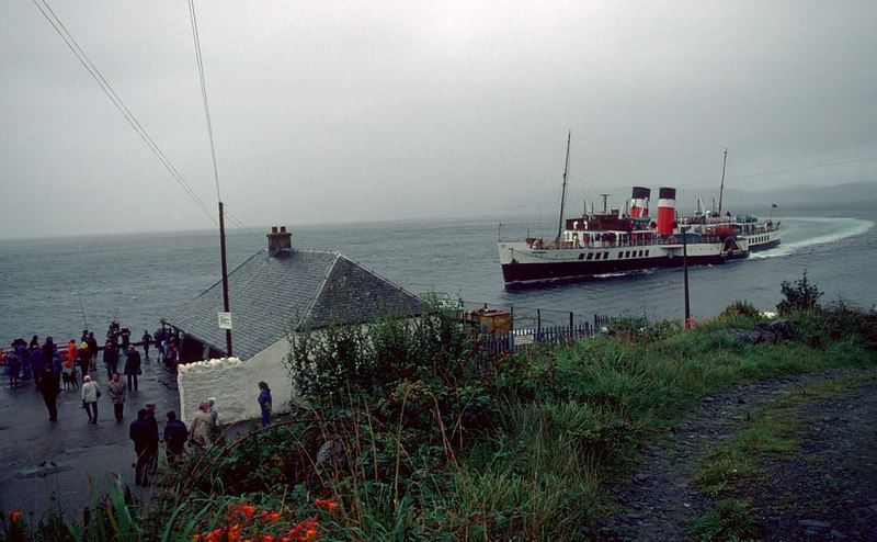 Waverley returning to Tarbert from her cruise on Loch Fyne that wet and windy day in 1982