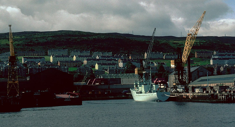 Scott Lithgow's Kingston Basin in 1982 with the new fisheries protection cutter Vigilant, built by Ferguson, fitting out and another of the barges associated with the Ocean Alliance project in the shadows.