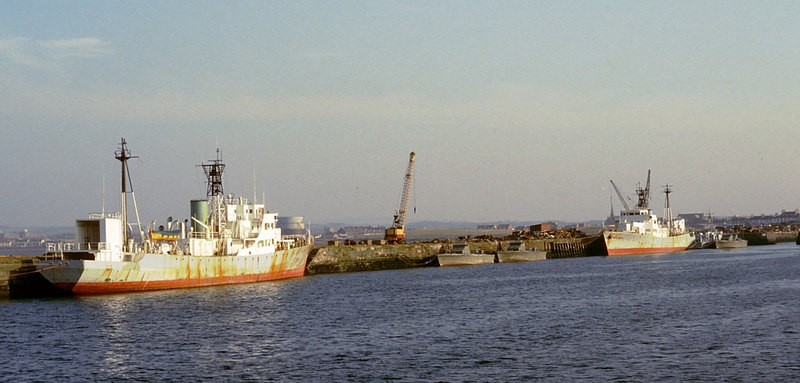 Former weather ships Admiral Fitzroy and Admiral Beaufort soon after arrival at the West of Scotland Shipbreaking Company's yard at Troon - demolition began soon thereafter. The shipbreaking yard was closed later in the 1980s.