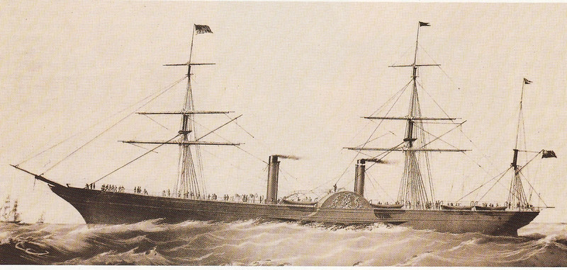 During the Transatlantic maiden voyage of RMS Persia, the largest ocean liner in the world at the time, the vessel collided with an iceberg. The incident resulted in the rivets in a section of her hull plating near to the bow being spung. However, the ship remained watertight and she was able to complete her voyage unassisted.  Her survival of that serious incident was put down to her clipper bow and the stoutness of her construction. Happily, there were no human casualties, however, as is well known, 56 years later the outcome of  a similar incident was a tragedy that shocked the world.