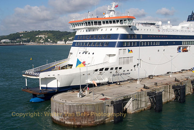 """Spirit of France"" in the port of Dover.  Vessel's Details: Ship Type: Ro-ro/passenger ship Year Built: 2011 Length x Breadth: 213 m X 32 m Gross Tonnage: 47592, DeadWeight: 9884 t Speed recorded (Max / Average): 22.7 / 17.1 knots Flag: United Kingdom [UK]  Call Sign: 2DXD5 IMO: 9533816, MMSI: 235082717"