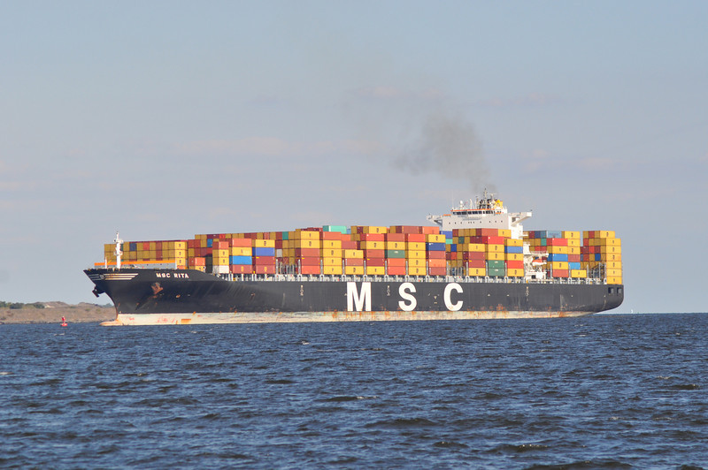MSC Rita<br /> <br /> Photo Taken Sept 30 2013 Baltimore, MD<br /> Container Ship<br /> USCG #<br /> IMO# 9289116<br /> Year: 2005<br /> Flag: Panama<br /> Class:<br /> Length:<br /> TEU (Container Capacity): 8089<br /> Builder: HANJIN HEAVY INDUSTRIES - PUSAN, SOUTH KOREA<br /> Hailing Port: <br /> Owner: MEDITERRANEAN SHIPPING CRUISE TECHNICAL DEPARTMENT - SORRENTO, ITALY