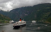 Queen Elizabeth 2, MSC Opera (left) & Delphin, Geiranger (Norway), 12 June 2008