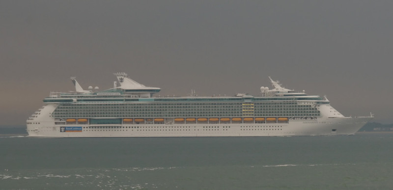 Independence of the Seas (2008, Royal Caribbean), Spithead, 31 May 2008.    At 158,000 tons, Independence was the world's largest cruise ship - for the moment....