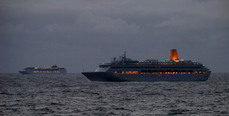 Oriana & MSC Opera, off southern Norway, 13 June 2008.     A midnight shot from QE2.