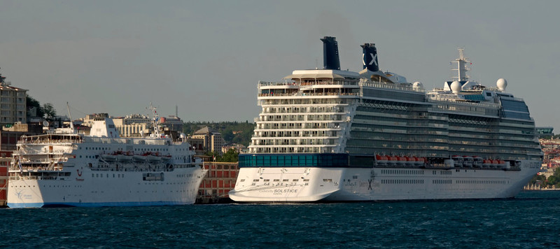 The Calypso (11,162gt) & Celebrity Solstice (117,200gt), Istanbul, 29 May 2009