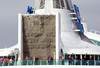 Enchantment of the Seas, Boston (Mass), 4 October 2005 2.  The climbing wall shows that Enchantment is definitely not a Cunard ship!!