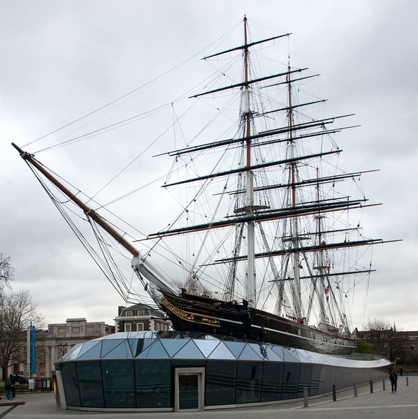 Cutty Sark, Greenwich, 27 January 2015 2.  The ship is surrounded by a glass 'sea'.