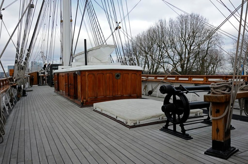 Cutty Sark, Greenwich, 27 January 2015.  Looking forward, toward the Thames.