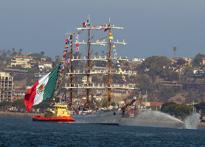 ARM Cuauhtémoc (BE01), a sail training vessel of the Mexican Navy; built at Bilbao, Spain, and launched in January 1982; in active service
